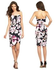 Lipsy 12 Floral Orchid Bandeau Wrap Front Bodycon Summer Dress BNWT.