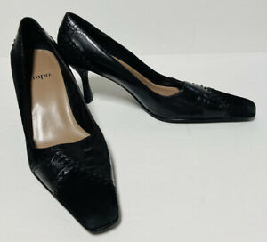 "Impo Leather & Suede Pumps Heels 2 3/4"" Size 6B Black Quality Great Condition!"