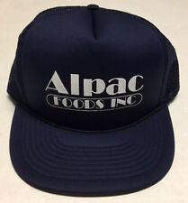 Vtg Alpac Foods Inc Trucker Hat Blue White Cap Incorporated 80s 1980s Rope Brim