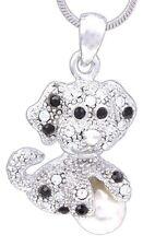 "Puppy Dog Necklace, Rhodium Plated 18"" Chain w/ Swarovski Crystal Elements"