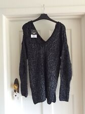 Topshop Black Sparkly Cable V Neck Jumper Sz 8 Bnwt £39