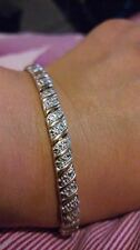 "925 Sterling Silver Gold Vermeil DIA LINK TENNIS Bracelet 7.5"" with Gift Box***"