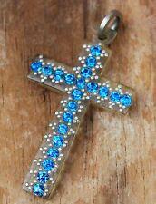 Vintage Pendant Christian Cross Costume Jewellery FRENCH Blue Rhinestone