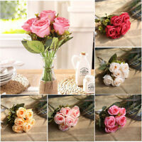 6Head Artificial Fake Roses Silk Flower Wedding Party Bridal Bouquet Home Decor