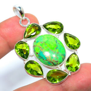 """Copper Green Turquoise & Peridot 925 Sterling Silver Pendant 2.03"""" T2774"""