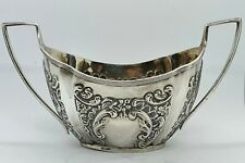Solid Silver Repousee Sugar Bowl. Chester 1896.