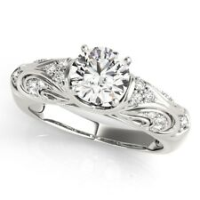 0.60 Ct Certified Real Diamond Engagement Ring Hallmarked 14K White Gold Size M