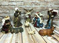 Vintage Fabric Nativity Set Mary Joseph Jesus Angel Wise Men Barn Animals 11 Pc