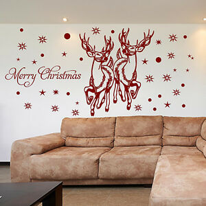SANTA REINDEER Wall Stickers CHRISTMAS WINDOW STICKERS Christmas Decorations N89