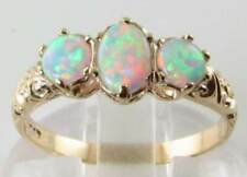 FIERY 9CT 9K GOLD OPAL 3 STONE TRILOGY VINTAGE ART DECO INS RING Free Resize