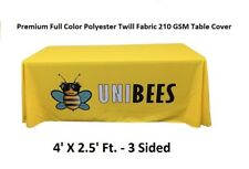 4ft. Premium Full Color Custom Table Cover/Throw Tradeshow 3 Sided Tablecloth