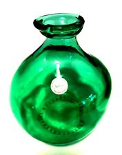 Vidrios San Miguel Bulb Vase Green Hand Made in Spain Recycled Glass 7.5 inches