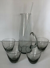 "Per Lutken Holmegaard Smoke 9.5"" Martini Pitcher & Old Fashion Tumbler Glasses"