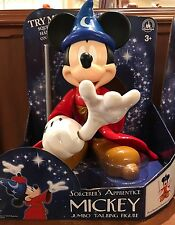 DISNEY PARKS SORCERER APPRENTICE MICKEY MOUSE JUMBO TALKING FIGURE NEW