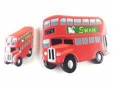Vintage (Lot of 2) Red Double Decker Bus Swan Vestas Wall Art England *RARE*