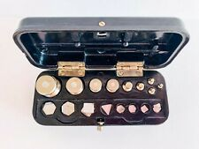 1970's Full Set Vintage Antique Soviet Old USSR Brass Scale Weights Bakelite Box