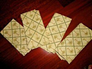 WAVERLY TAHITI PALM GREEN GOLD TREES TANGIER (4PC) FABRIC NAPKINS SET 19 X 18