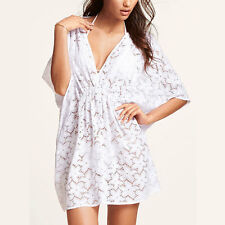White Summer Beach Floral Tunic Batwing Top Party Cover Up Dress 0888 Size M/L