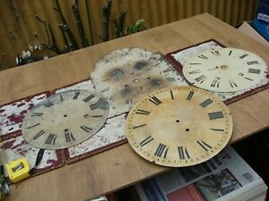 Antique  Clock Dial For Long Case & Fusee  Clock Movement For Spare Or Repair )