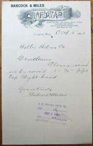 Livingston, MT 1891 Letterhead: Hardware/Mining Supply/Powder/Nitro-Montana Mont