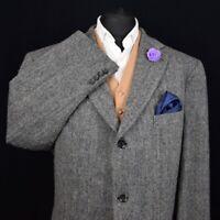 Harris Tweed BARUTTI Country Grey Tailored Hacking Jacket 50R #644 SUPERB