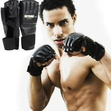 Pair Leather Boxing Gloves UFC MMA Muay Sparring Punch Bag Training Fight Mitts