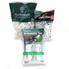 "40 Plastic Zero Friction Golf Tees & White Wood 200 2-3/4"" Long 125 2-1/8"" Long"