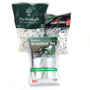 "40 Plastic Zero Friction Golf Tees & White Wood 200 2-3/4"" Long 125 2-1/8"" Long"
