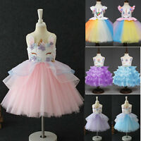 Flowers Toddler Kids Girls Unicorn Bridesmaid Pageant Party Formal Tutu Dress