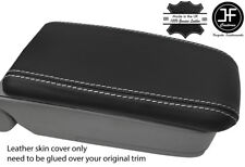 WHITE STITCH REAL LEATHER ARMREST LID COVER FITS SUBARU FORESTER SG9 2006-2008