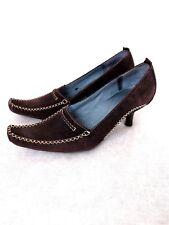 Indigo Clarks Womens Heels 8 M Brown Suede Leather Stitching Split Sole Career