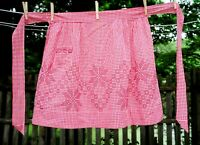 VTG 60's Cotton Red Gingham Check Star & Square Embroidery Half Hostess Apron