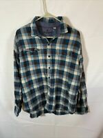Woolrich Blue Plaid Flannel Long Sleeve Men's Shirt Size XL 100% Cotton