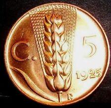 5 centesimi spiga 1925  FDC  ass. rosso sig.periz.to