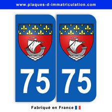 Stickers pour plaque département 75 Paris (jeu de 2 stickers) blason