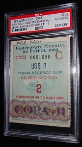 1962 WORLD CUP CHILE VS SWITZERLAND LEONEL SANCHEZ 2 GOALS MATCH TICKET PSA RARE