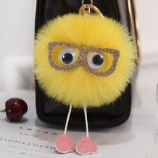 Rabbit Fur Fluffy Pompom Ball Handbag Car Pendant Handbag Key Chain Keyrings