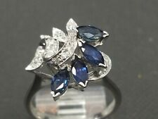 14k White Gold Ring With Sapphires And Diamonds size 7