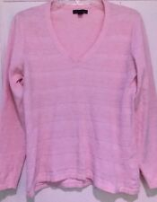 Tommy Hilfiger Medium Pink V Neck Embroidered Long Sleeve Women's Sweater Top