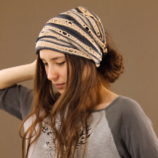 Tube Head Wrap Hair Band Headband Dreadlocks Extra Wide Stretch Black Cream
