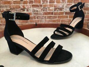 Isaac Mizrahi Black Suede Triple Strap Mabel Block Heel Dress Sandal NEW