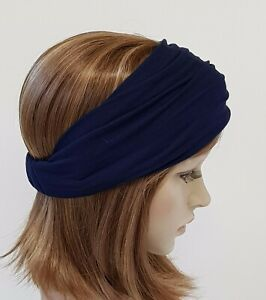 Navy blue headband, wide headband, elasticated headband, women's bandanna