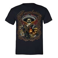 Mens Revolution Tequila Mariachi Zapata Skull Day Dead Muertos Mexican T-Shirt