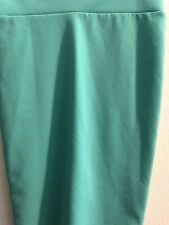 Pre-owned Magic Fit (L) Pencil Skirt Solid Dark Mint Polyester Blend