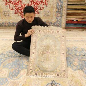 Yilong 2'x3' Small Hand Knotted Silk Carpets Traditional Handmade Area Rug Y430B
