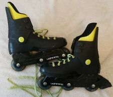 1988 Vtg 3-wheel Lightning Rollerblades sz 40-6 neon yellow Italy Kryptonics