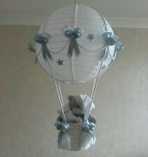 Starry Night Hot Air Balloon Nusery Lamp-light Shade  in blue     Made to order