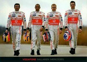 Hamilton & Kovalainen & Paffet & De La Rosa McLaren F1 2008 Team Issued Card
