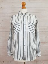 Zara Basic Womens White Long Sleeve Button Front Casual Striped Shirt Size XS