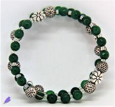 Bracciale Donna, fatto a mano, Pietre dure: Agata Verde 2 giri, acciaio armonico
